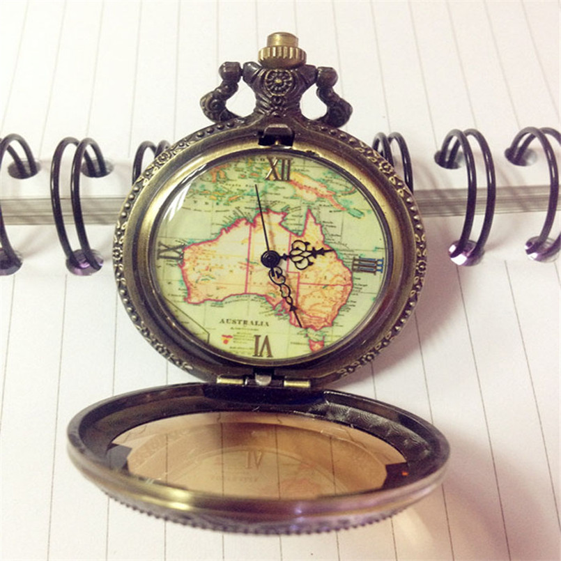 Top Brand New Fashion Gift Vintage Pocket Watch Retro Antique Chain AU Map Necklace Pendant Pocket Watch For Specia Gift antique retro bronze car truck pattern quartz pocket watch necklace pendant gift with chain for men and women gift