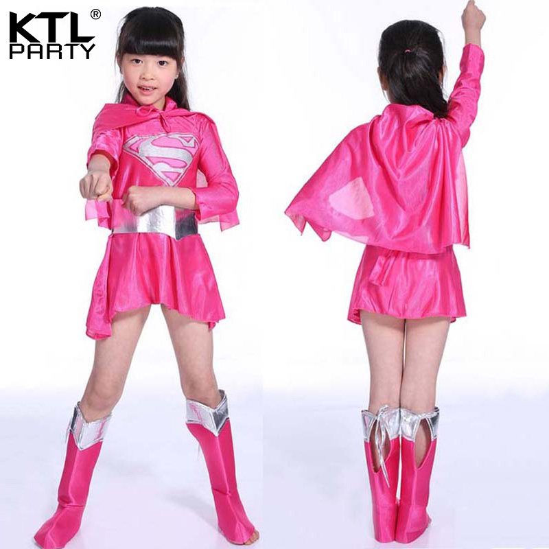 Children hot pink girl superman costume dress halloween cosplay party superwoman superhero costume cape boots belt for kid