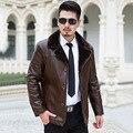 Turn down меховой воротник зимнее пальто мужчин среднего возраста толстый бархат мужские Кожаные Куртки Вниз Пальто Зимние Куртки для Мужчин Вниз куртка
