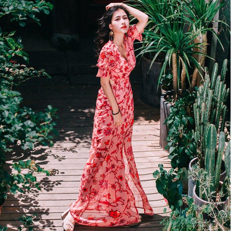 Moulante En Fête Robes Perspective V Creux Dos Mousseline Sexy Robe D'été Soie Pathwork De Col Color Jacquard Femme Vacances Photo Bohème Pour Tenue P6wHAnpR