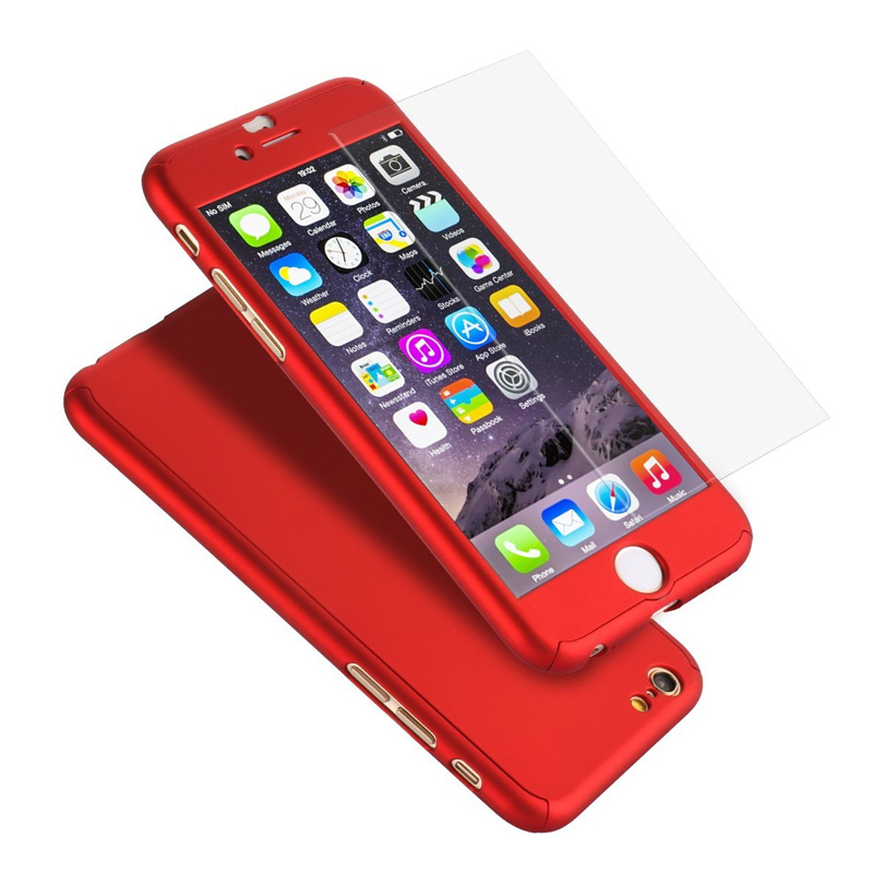 6fe4b718b99 360 Degree Full Body Front Back Hard Phone Case for fundas iphone 6 6S 7  Plus Matte Finish Hybrid Cover Accessories+Temper Glass wholesale phone  cases case ...