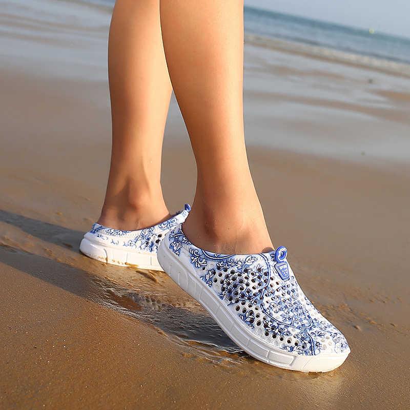 Zomer vrouwen Slippers Strand Schoenen Ademend Gat Mesh Slippers Vrouwen Mannen Unisex Sandalen Flip Flop Plus Size Sandalias