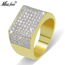 MISSFOX Hip Hop Men Gold Ring Fashion Cubic Zirconia Fully Brand 18k Real Micro Pave Luxury Jewelry Gifts For