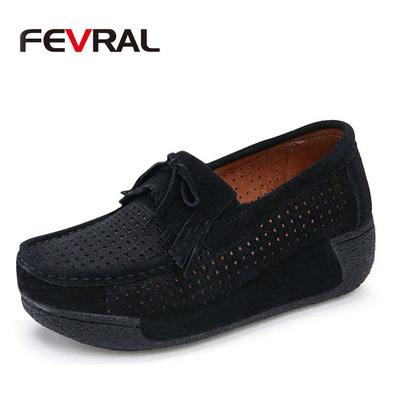FEVRAL 2019 Autumn Woman Fashion Flat Platform Loafers Shoes Ladies   Suede     Leather   Footwear Casual Shoes Slip On Flats Moccasin