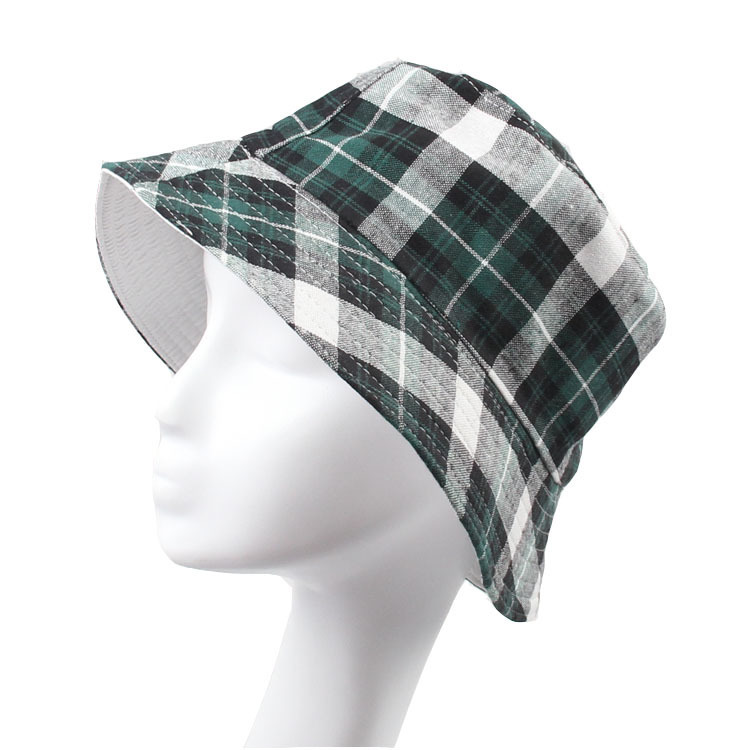 Classic Plaid Canvas Bucket Hats for Men Women Summer Hat ...