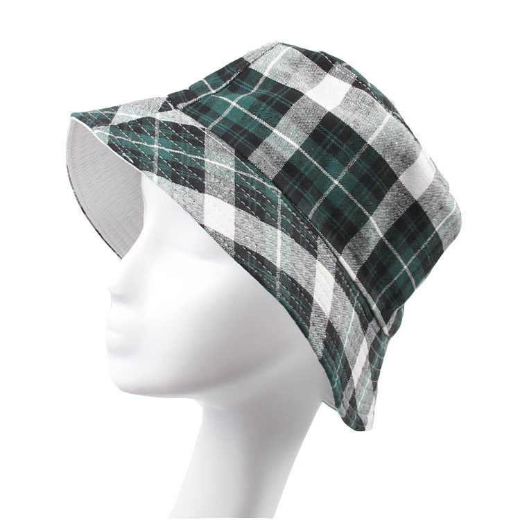 b25e773563d Classic Plaid Canvas Bucket Hats for Men Women Summer Hat Outdoor Cap Beret  Sunhat Flat Caps