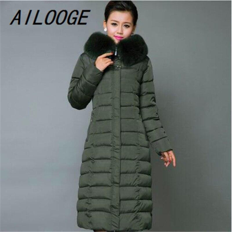 AILOOGE Maxi abrigo de Invierno 2017 nueva chaqueta de invierno Casual de talla grande abrigo de mujer grueso X largo de algodón Parkas Casaco Feminino - 3