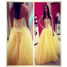 2016 Prinzessin Ballkleid Schatz prom Kleid mit Luxus Perlen und Kristall Lace-Up Zurück Abendkleid Benutzerdefinierte Vestido De Noche