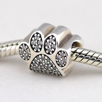 Paw Prints Beads Pave Clear CZ Sterling Silver jewelry making for woman Fine jewelry Fit European Charms Bracelets Snake Chain