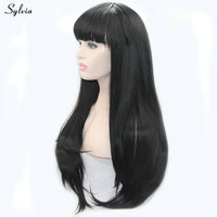 Sylvia Natural Straight Long Hair Heat Resistant 1B# Black Wig with Baby Hair/Bangs Synthetic Lace Front Wigs Women Replacement