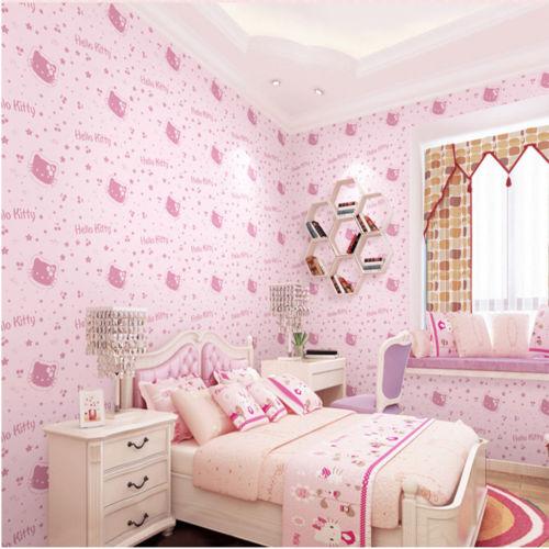 Q Qihang Kids Room Princess Kitty Cat Pattern Style Non Woven Wallpaper Pink 0 53m 10m 5 3m2