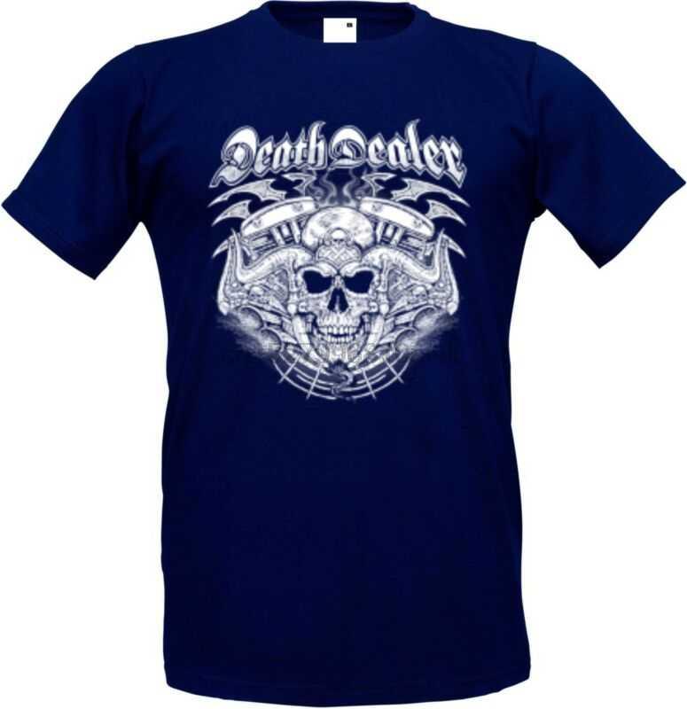 T Shirt IM Navyblauton MIT Einem Gothik-Biker-& Tattoomotiv Modell Death Dealer