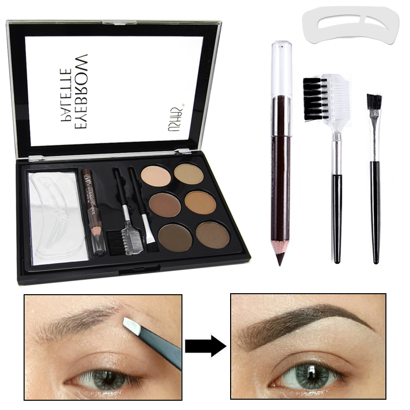 Professional Full Eye Brow Set Brows Styling Stencil Tool With Eyebrows Shadow Powder Chocolate Brown Eyebrow Makeup Palette 2018 promotion hot sale natural eyebrow sobrancelha flat straight eyebrows straight brows with 100