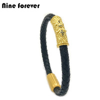Nine Forever New Fashion Men Women 6mm Genuine Braided Leather Titanium Steel Anchor Bracelet Magnetic Buckle