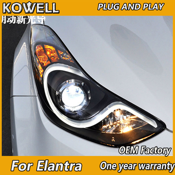 KOWELL Car Styling for Hyundai Elantra MD LED 2011-2016 Headlights New Elantra DRL Lens Double Beam H7 HID Xenon Car Accessories