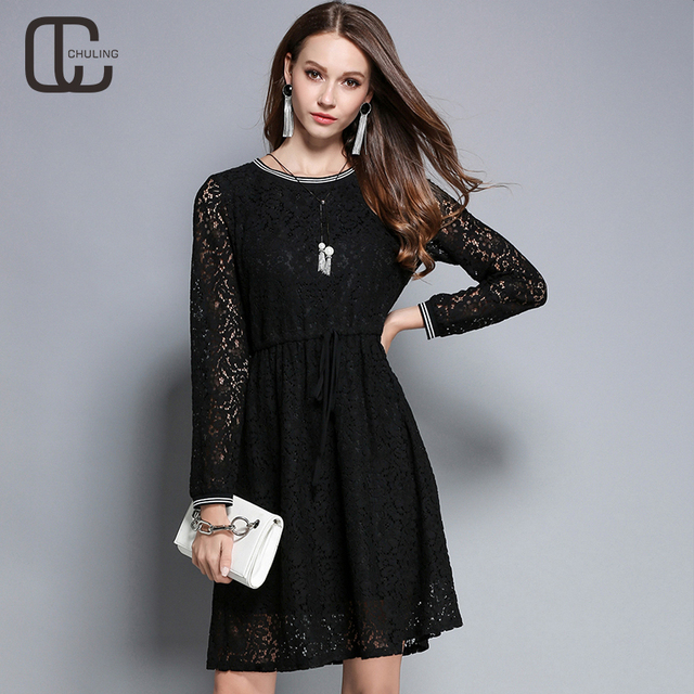 New Autumn Womens Floral Lace Black Dresses Simple Elegant Plus