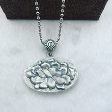 ancient Thai S925 pure silver intime big peony card STERLING SILVER ROUND OVAL SILVER PENDANT folk style sweater chain