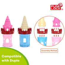 Funlock Duplo Blocks Toys Castle Building Model Parts for Prince Princess Creative Educational Bricks Gifts for