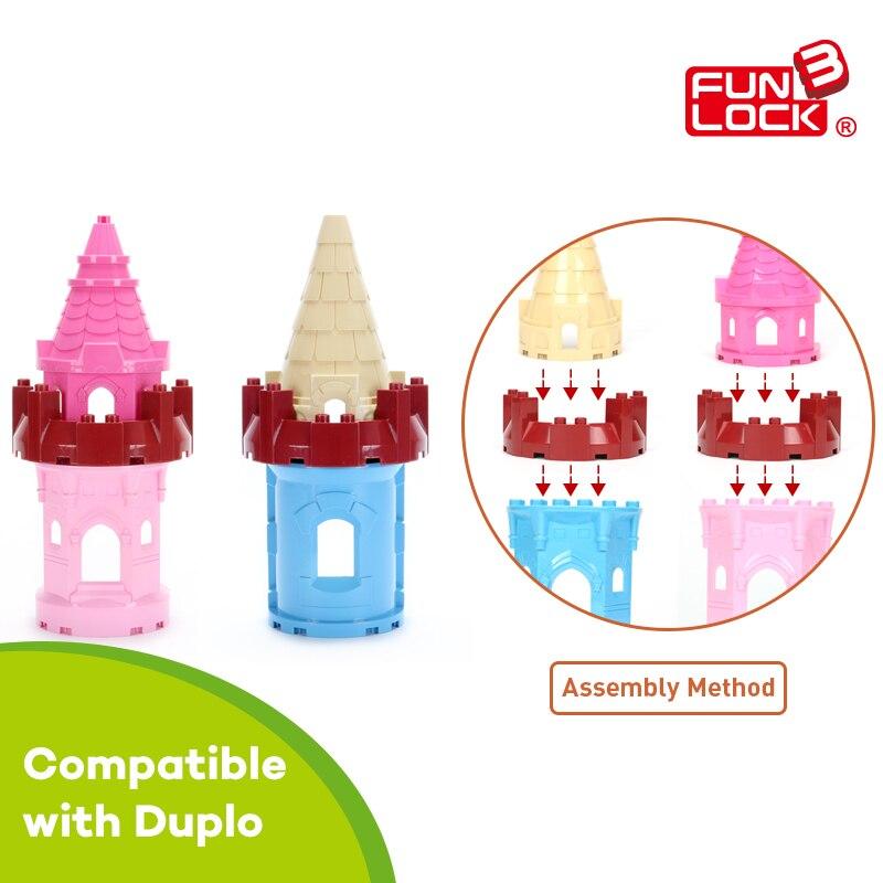 Funlock Duplo Blocks font b Toys b font Castle Building Model Parts for Prince Princess Creative