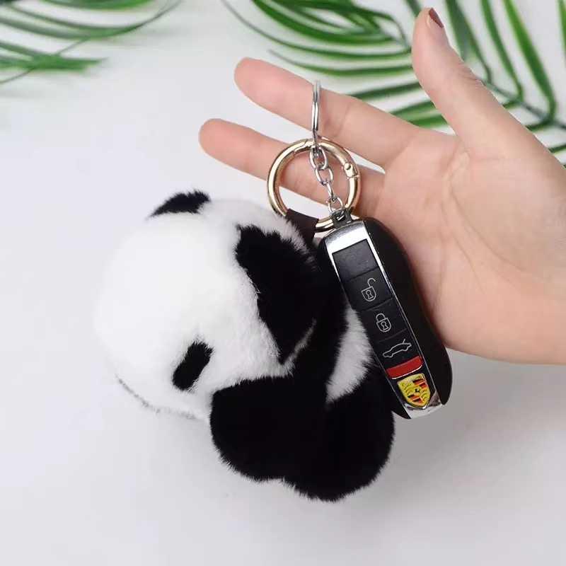 LLavero de piel de conejo Rex genuino de Glaforny de piel suave de Panda llavero bolsa colgante de regalo accesorios de coche llaveros juguete