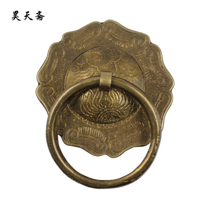 [Haotian vegetarian] antique copper door knocker handle / Antique Hardware / antique copper fittings HTA-025 [haotian vegetarian] door knocker chinese decoration antique copper handle antique handle hta 096 chassis