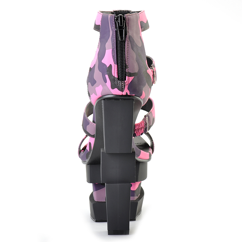 Pink Palms summer women shoes high heels wedge sandals fuchsia camouflage bullet decoration sexy punk party sandals