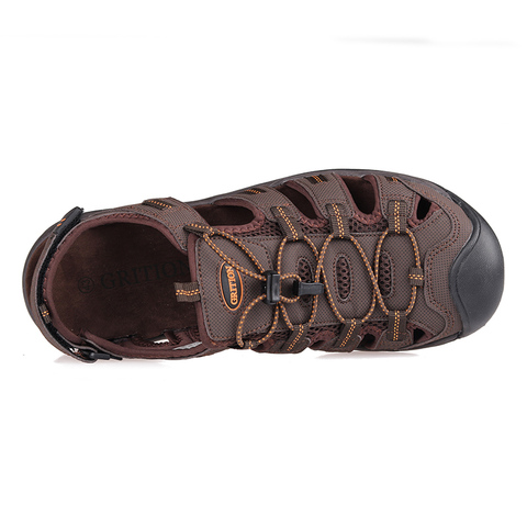GRITION Mens Outdoor Sandals Summer Breathable Flat Sole Beach Shoes Outdoor Soft Walking Hiking Sandals Athletic Men Shoes Karachi
