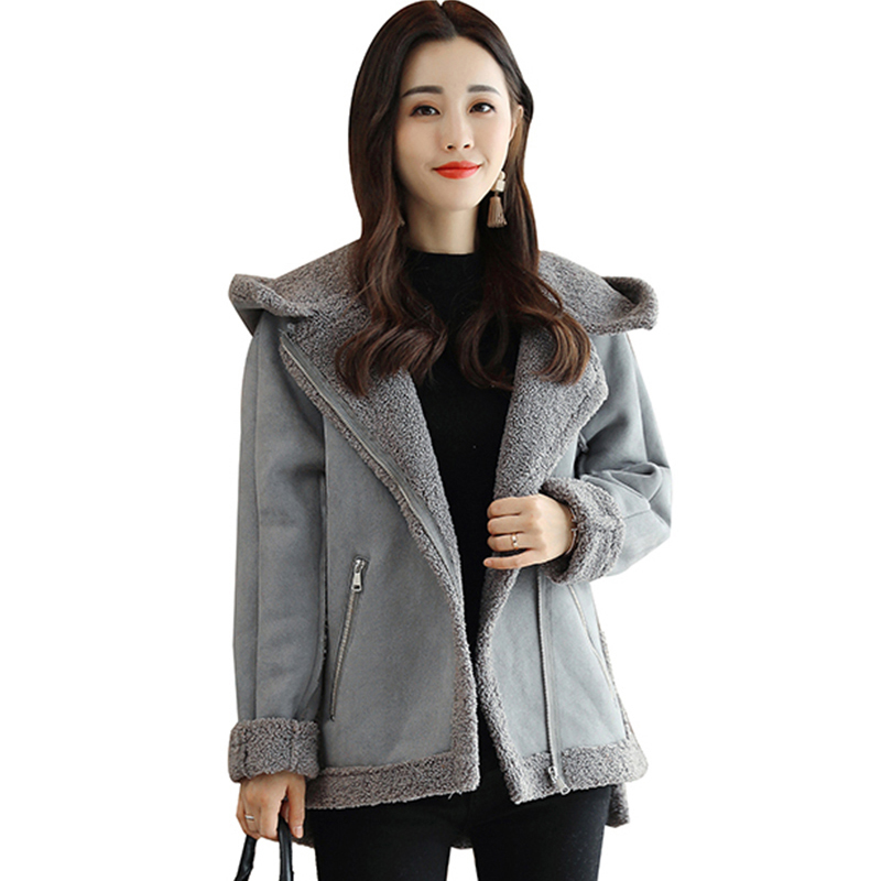 Faux Leather Suede Coat Black Leather Jacket Winter Warm Lambs Wool Fur Collar Suede Jackets Shearling hooded Coats Women QH1077