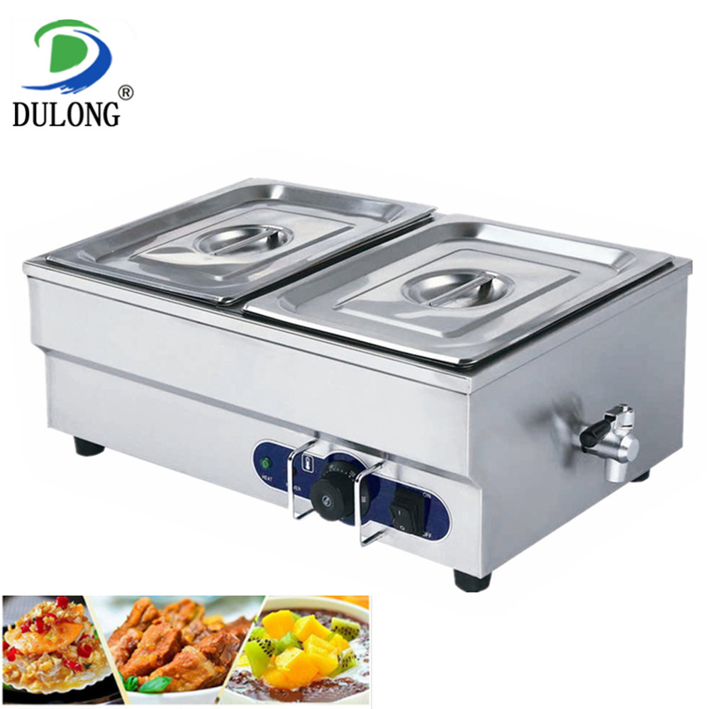 2-pan high quality household stainless steel bain marie for hot soup keep warming catering food warmer machine kitchen equipment high quality hot dog display showcase food warmer stainless steel bread sandwich countertop tool