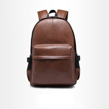 ETONWEAG New 2017 men brands cow leather brown zipper korean style laptop backpacks casual travel bags luxury school bag