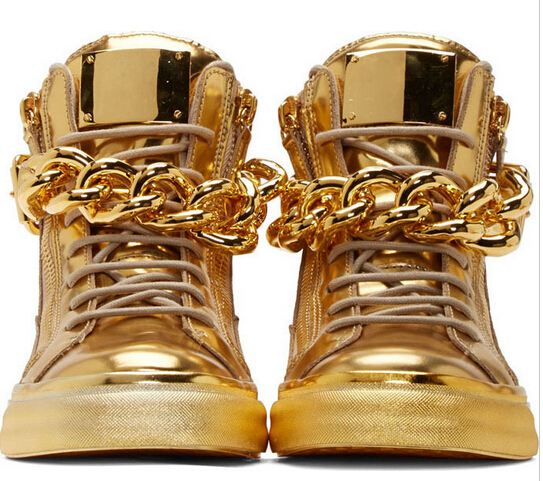 Luxury Sneakers for Men Real Picture Brand Silver Gold