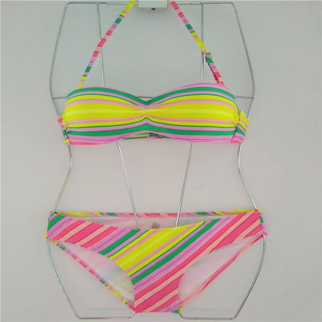 Hotsale Rainbow Bikini Set Sexy Swimwear For Women Halter Push Up Beach Cover Bathing Suit Padded Swimsuit Female Holiday Biquni