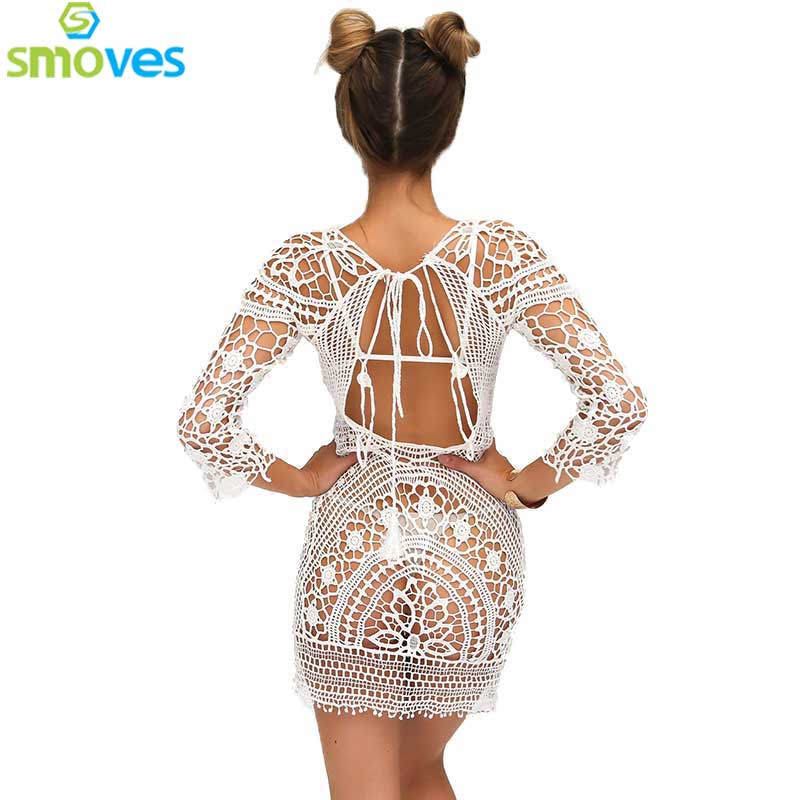 Colysmo See Through Hollow Out Embroidery Boho Lace Crochet Women Floral Mini Dress Sundress Beachwear Beach