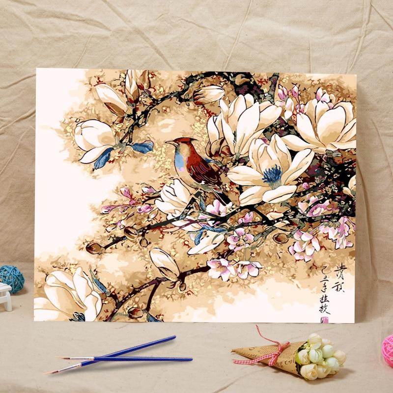 Frameless Canvas Art Oil Painting Flower Painting Design: New Frameless Diy Oil Painting Magnolia Flower Bird