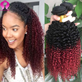 8A Kinky Curly Ombre 1B Burgundy 99j Mongolian Kinky Curly Hair 3 Bundle Deals Ombre Curly Hair Vip Beauty Hair Remy Human Hair
