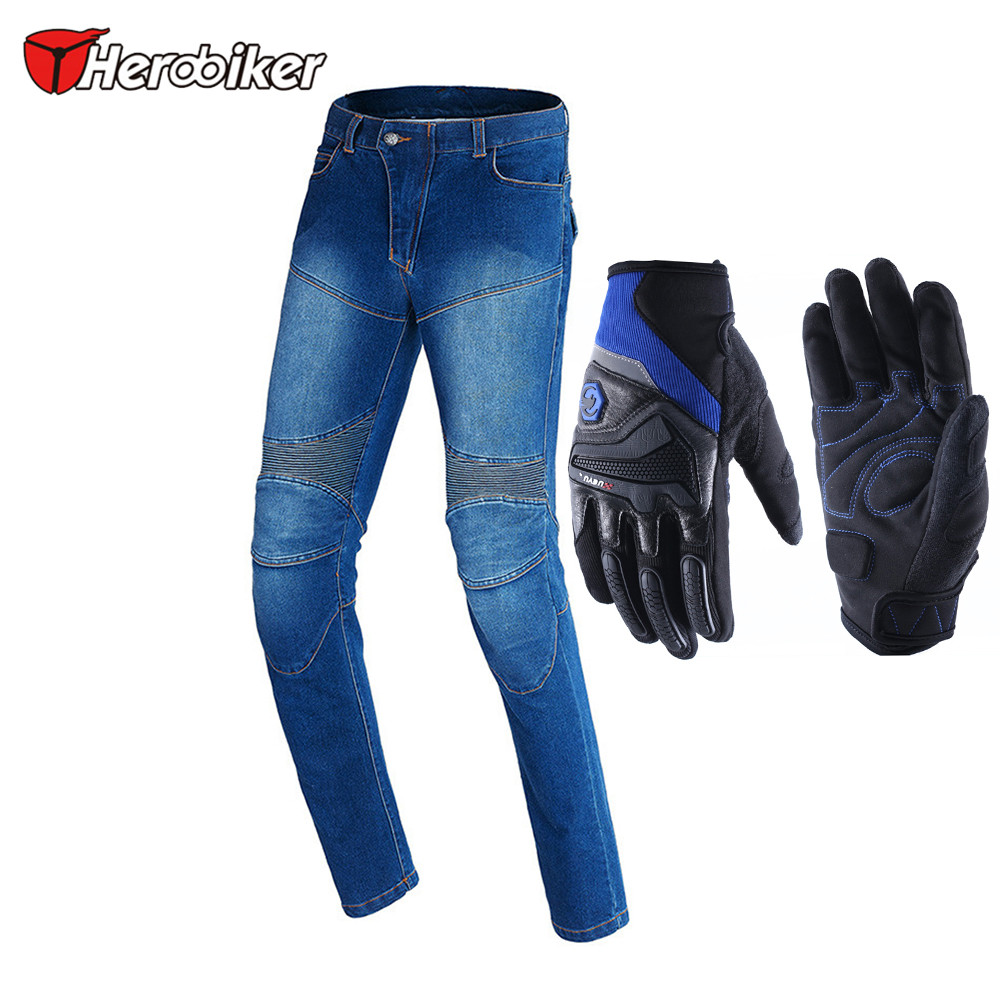 2017 HEROBIKER Motorbike Motocross Off-Road Knee Protective Moto Jeans Windproof Motorcycle Racing Pants Motorbike Jeans herobiker black motorcycle racing body armor protective jacket gears short pants motorcycle knee protector moto gloves