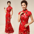 chinese traditional dress long cheongsam wedding 2016 dresses for woman oriental mermaid qipao red lace gold evening gowns