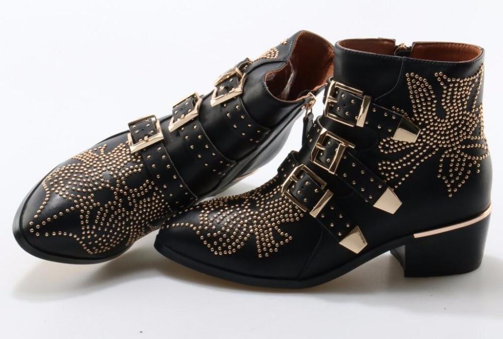 Metal moda Fivela Ankle Boots Mulheres De Couro Cravejado pontas strass Toe tornozelo fivela plana botas fotos reais - 6