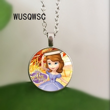 WUSQWSC New Sofia The First Necklace Princess Sofia Pendant Beautiful Princess Glass Dome Necklaces & Jewelry christina croft most beautiful princess