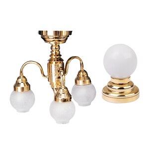 Image 2 - Миниатюрный металлический настенный светильник в масштабе 1:12 для кукольного домика, модель лампы и шарообразный потолочный светодиодный светильник с батареей