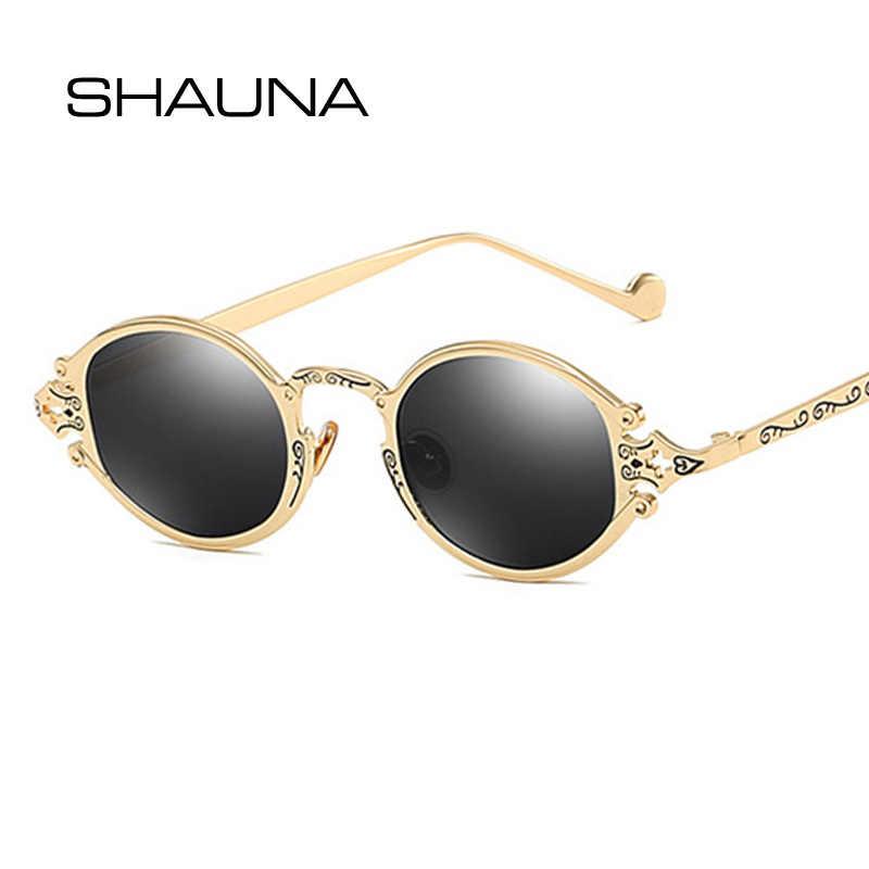 SHAUNA Ins Популярные готические маленькие овальные Панк мужские солнцезащитные очки, Ретро стиль металлические стимпанк Солнцезащитные очки для женщин