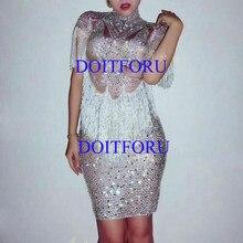 1060a672 Sparkly Crystals Big Stretch Dress Women's Evening Party Wear Full  Rhinestones Tassel Dress Prom Birthday Celebrate