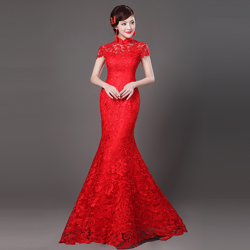 Mandarin Collar Sexy Lace Flower Lady Cheongsam NEW Red Chinese Wedding Party Bride Qipao Full Length Elegant Mermaid Dress