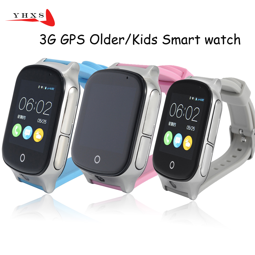 Smart Safe 3G WCDMA Remote Camera GPS LBS WIFI Location Tracker SOS Monitor Child Elder Kids Watch Wristwatch 1.54 Touch Screen wcdma 3g gps watch with camera for adult elederly gps wifi lbs location free app web tracking sms google map student gps locator