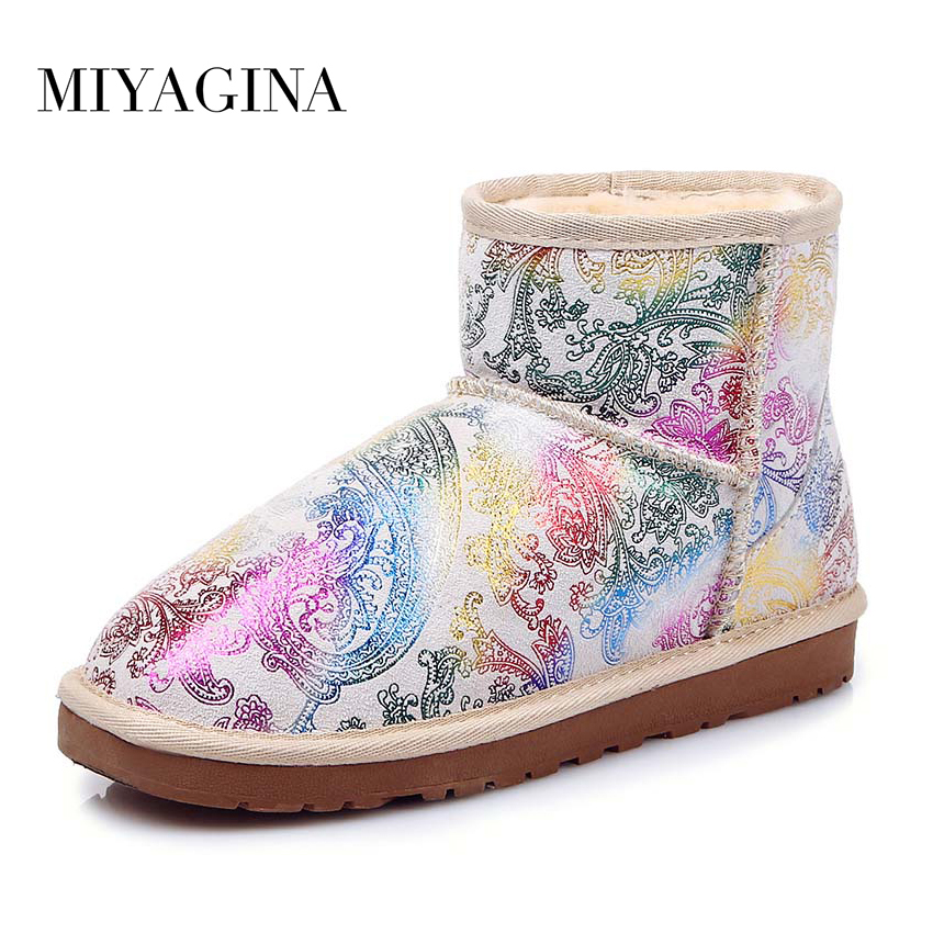 Top Quality New Fashion 100% Genuine Cowhide Leather Snow Boots Classic Waterproof Women Leather Boots кэрролл л алиса в стране чудес alice in wonderland
