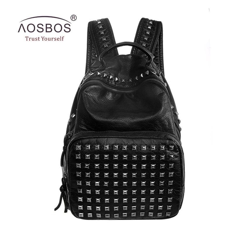 ФОТО Aosbos Fashion Women PU Leather Backpacks Vintage Rivet Zipper Solid Shoulder Bags for Teenage Girls Casual Black Backpack