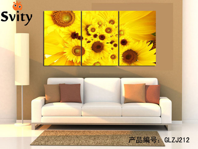 Modern Abstract yellow and pink sunflower Wall Art Picture Print on ...