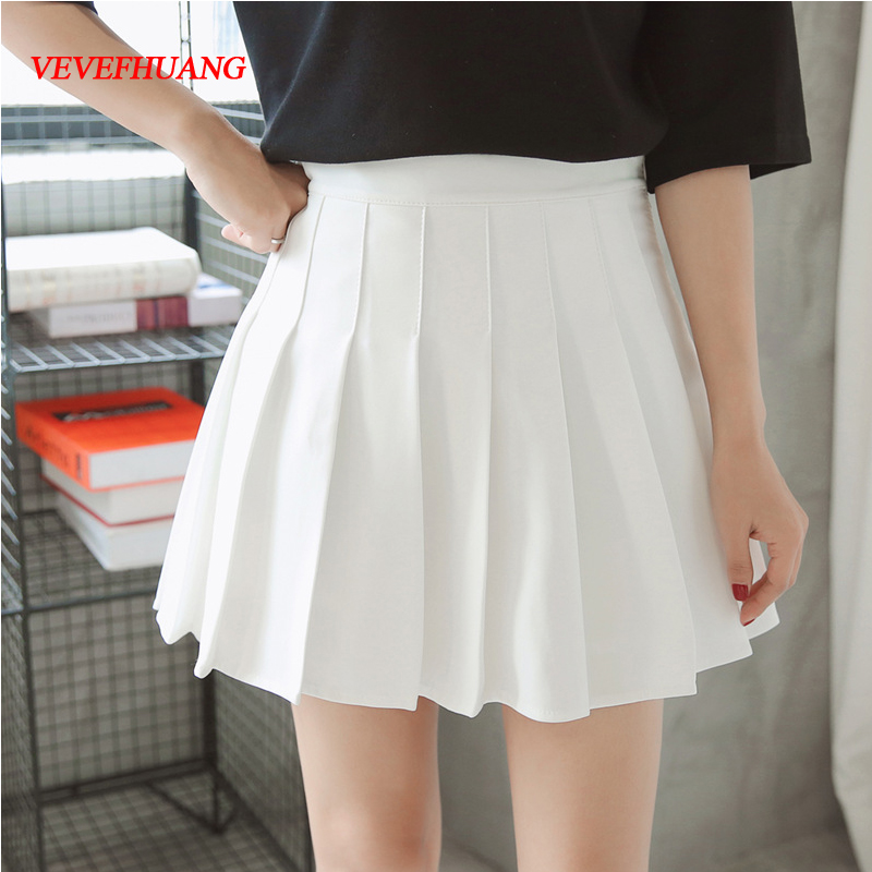 New Spring high waist ball pleated skirts Harajuku Denim Skirts solid a-line sailor skirt Plus Size Japanese school uniform