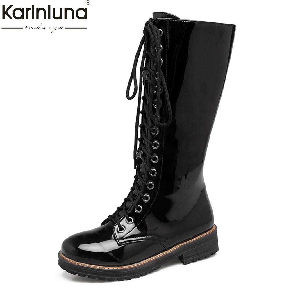 KARINLUNA 2018 Women Shoes Plus Size 34-43 ZIP UP Shoes Woman Cool Mid Calf Boots Woman Add Fur Warm Winter Boots karinluna 2018 plus size 30 50 pointed toe square heels add fur warm winter boots woman shoes woman ankle boots female
