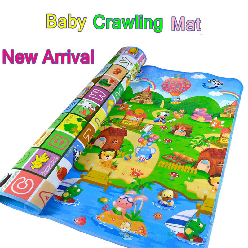 1.8*1.2/2 Meter New Doulble-Site Baby Play Mat Fruit Letters And Happy Farm Child Beach Mat Picnic Carpet Baby Crawling Mat